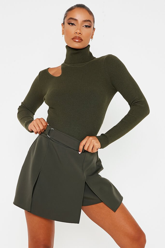 Khaki D-Ring Belted Front Split Skorts view main view
