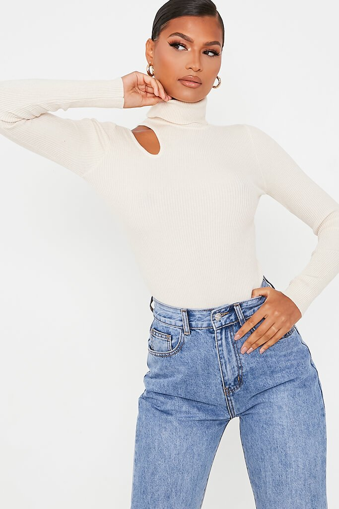 Stone Cutout Shoulder Turtle Neck Knitted Jumper view 2