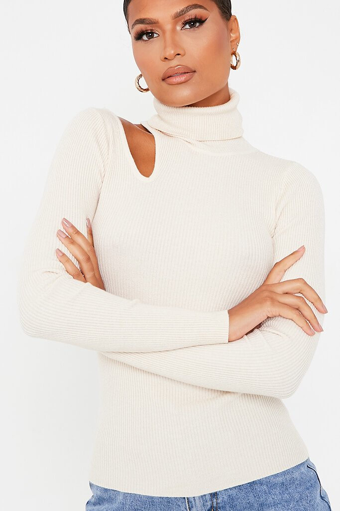 Stone Cutout Shoulder Turtle Neck Knitted Jumper view 5