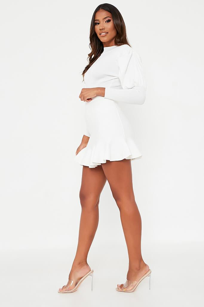 White Knitted Mini Skirt With Flute Hem view 3