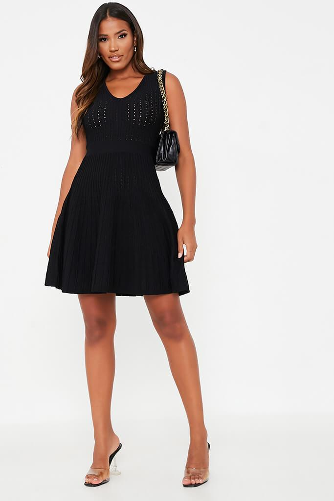 Black V Neck Pointelle Knitted Skater Dress view 2