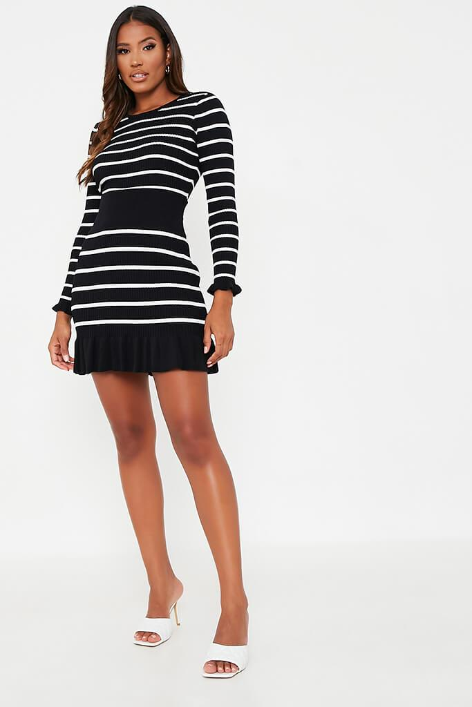 Black Striped Frill Hem Skirt