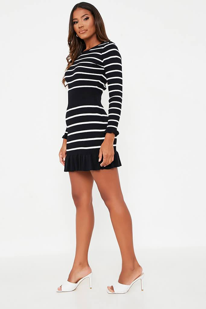 Black Striped Frill Hem Skirt view 3