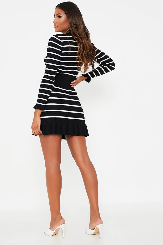Black Striped Frill Hem Skirt view 4