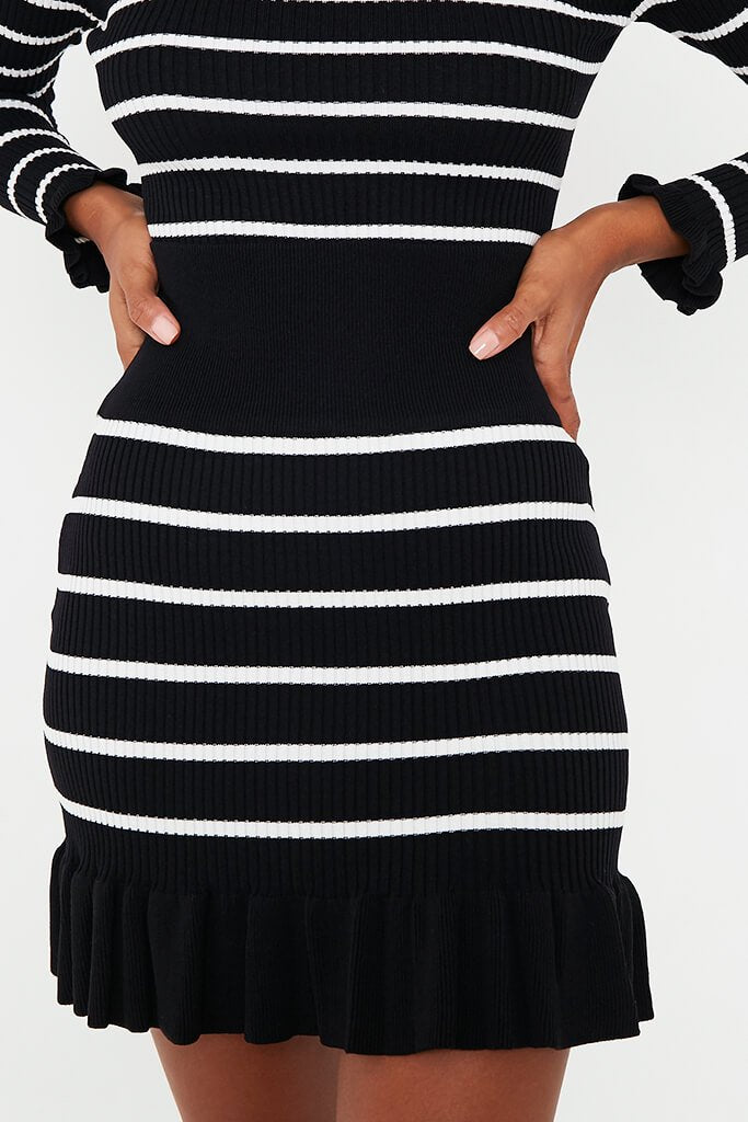 Black Striped Frill Hem Skirt view 5