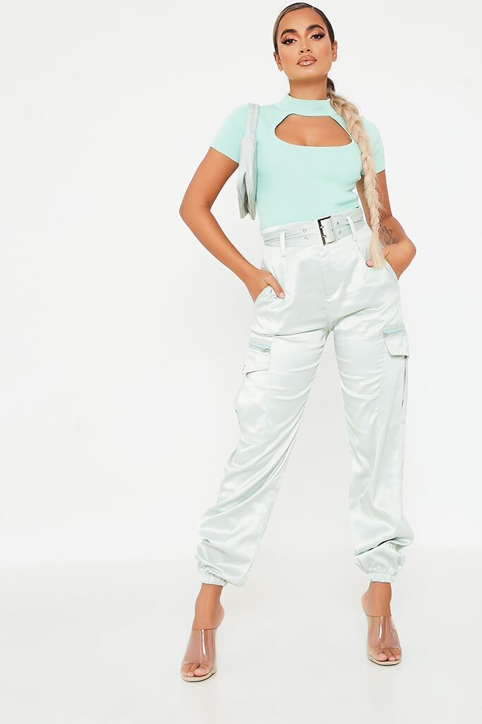Mint Green Knitted Cutout Front High Neck Top view 2