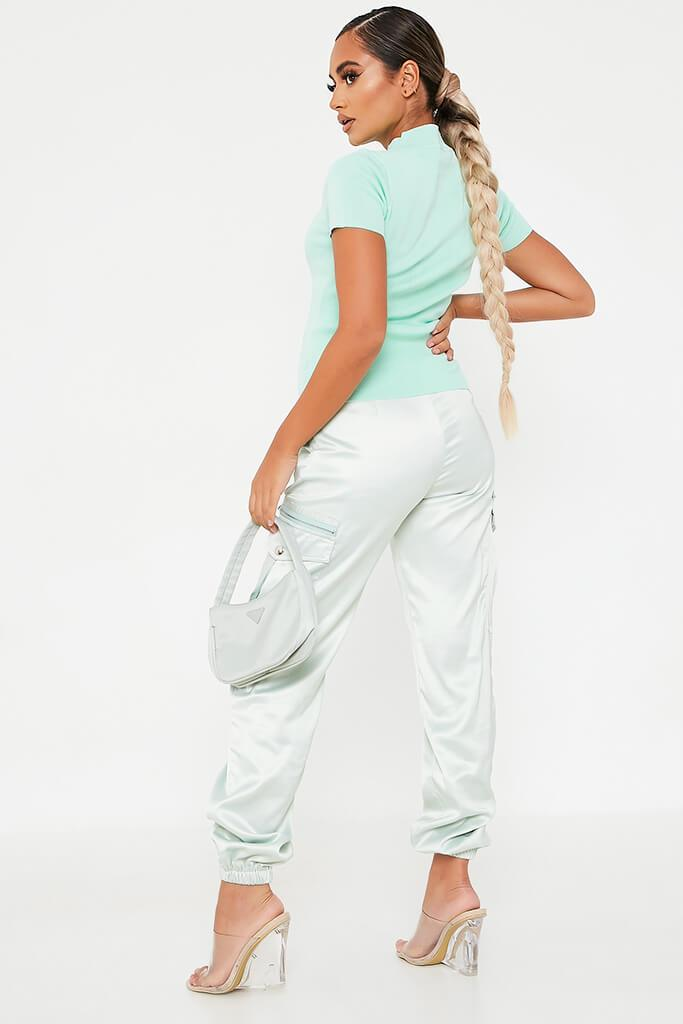 Mint Green Knitted Cutout Front High Neck Top view 4