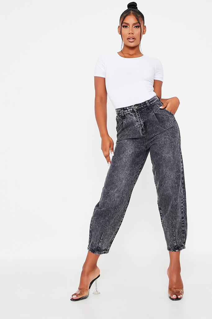 Black High Waisted Baggy Jean view main view