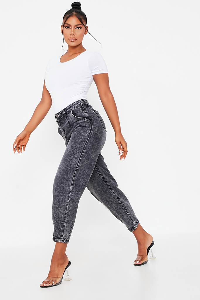Black High Waisted Baggy Jean view 2