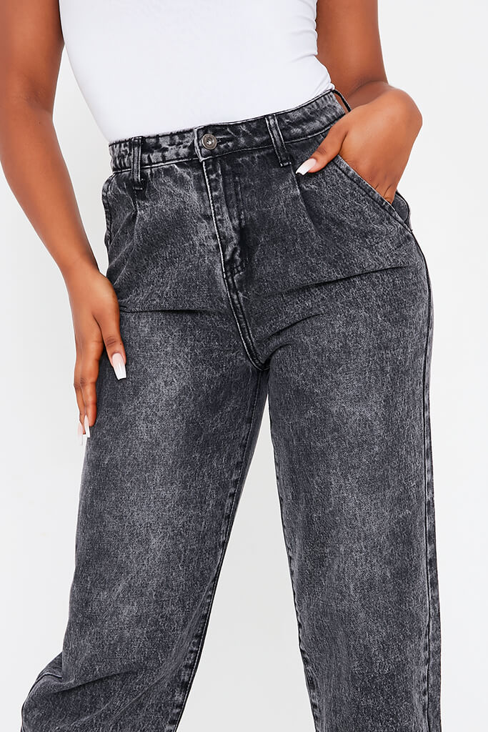 Black High Waisted Baggy Jean view 5