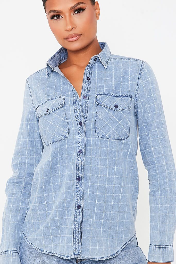 Light Wash Checked Pocketed Denim Shirt view 5