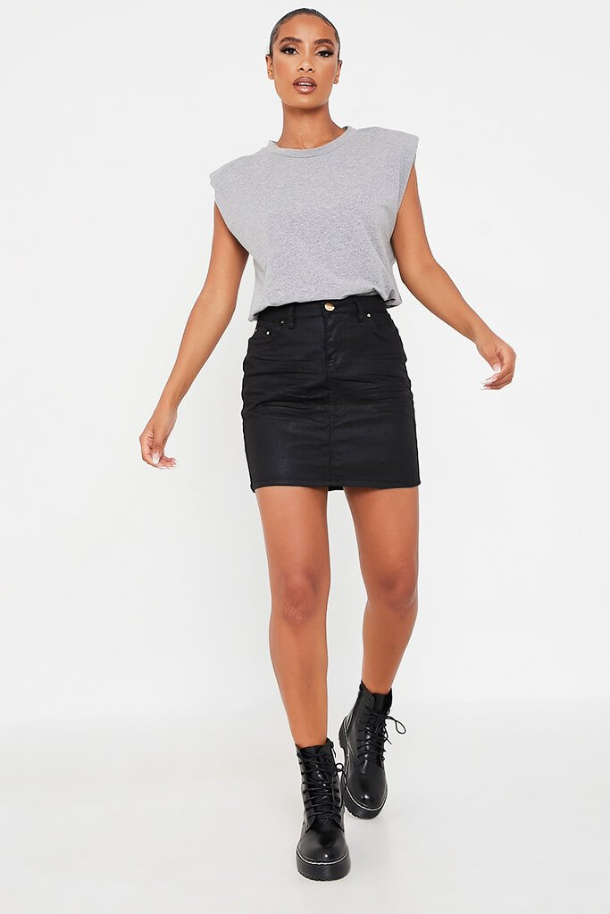 Black Coated Denim Skirt view 2