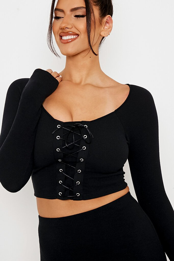 Black Rib Lace Up Front Crop Top view 5