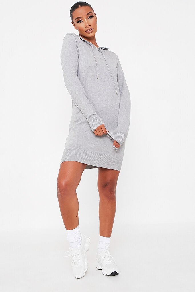 Grey Knitted Dress With Hood view 2
