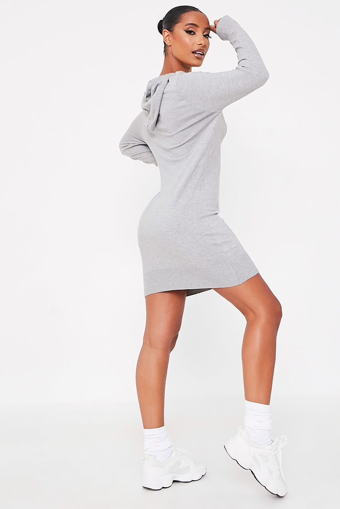 Grey Knitted Dress With Hood view 4