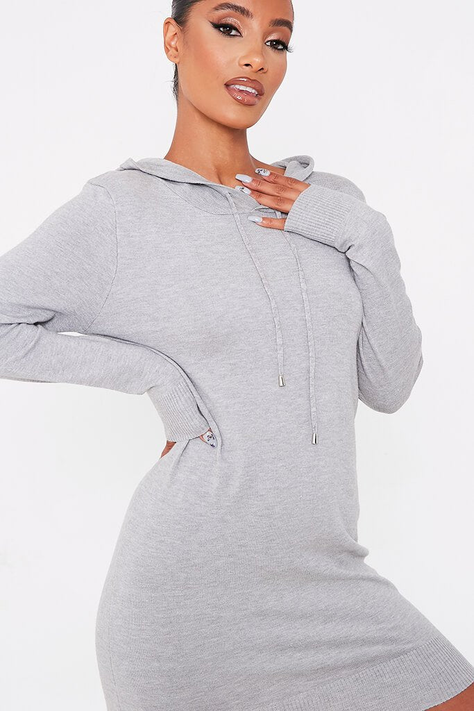 Grey Knitted Dress With Hood view 5
