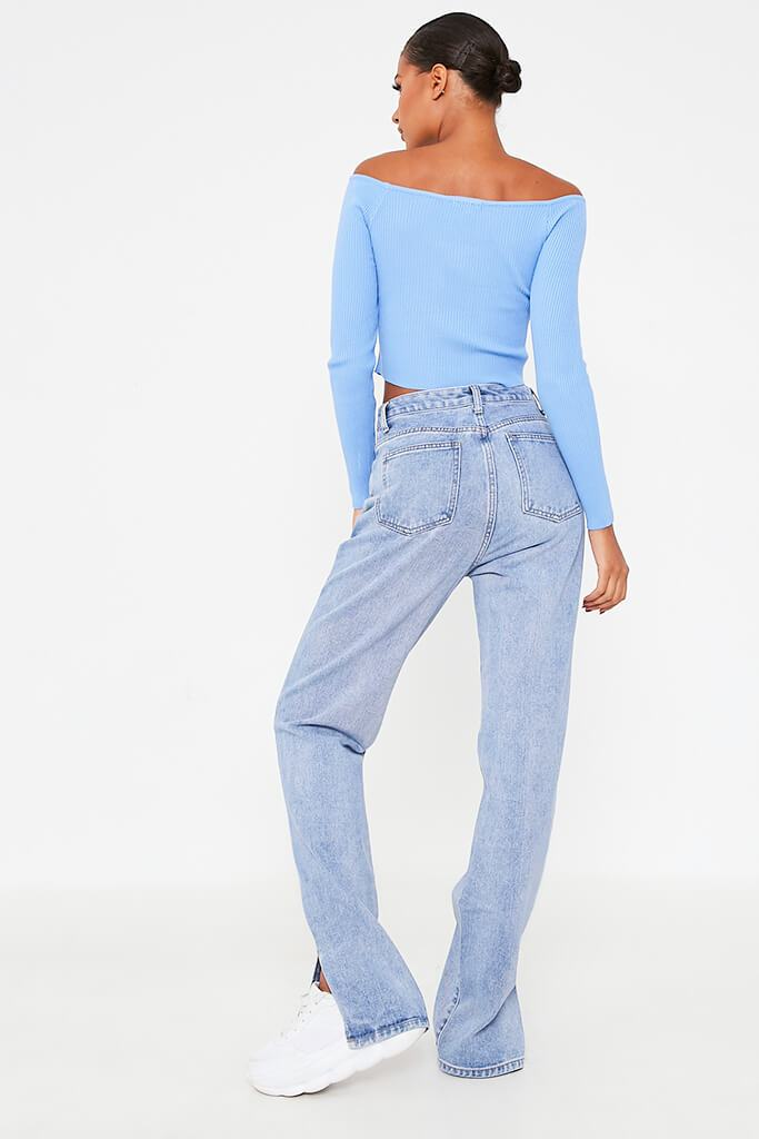 Blue Bardot Knitted Top With Cross Over Detail view 4