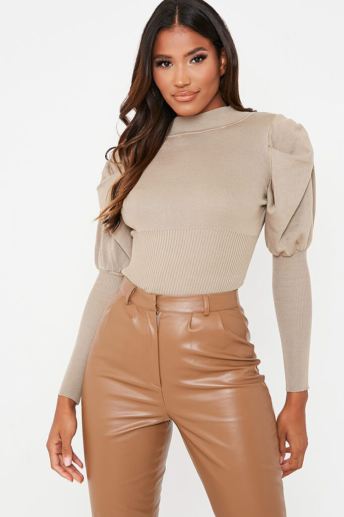 Beige Puff Sleeve Jumper With Slim Cuff view main view