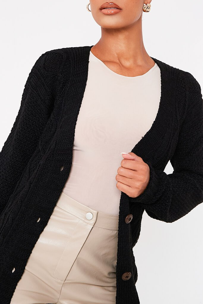 Black Button Through Cable Knit Midi Cardigan view 5