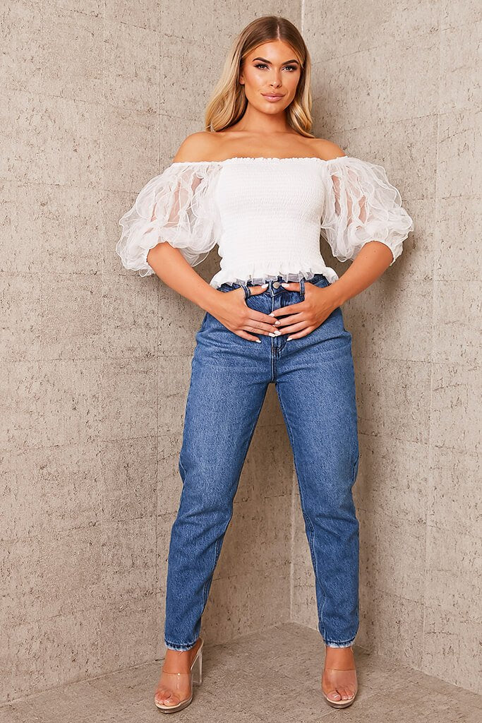 White Frill Puff Sleeve Shirred Top view 2