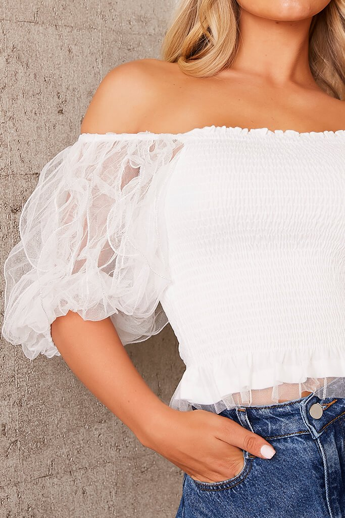White Frill Puff Sleeve Shirred Top view 5