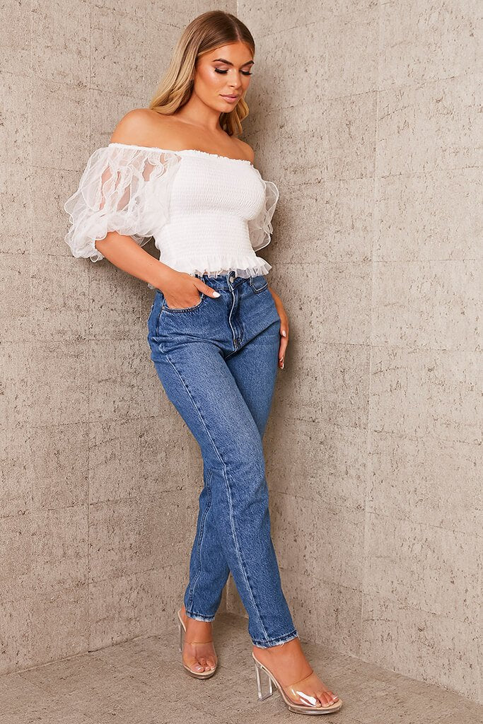 White Frill Puff Sleeve Shirred Top view 3