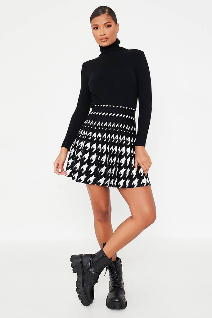 Black & White Mini Dogtooth Knit Mini Skirt view 2