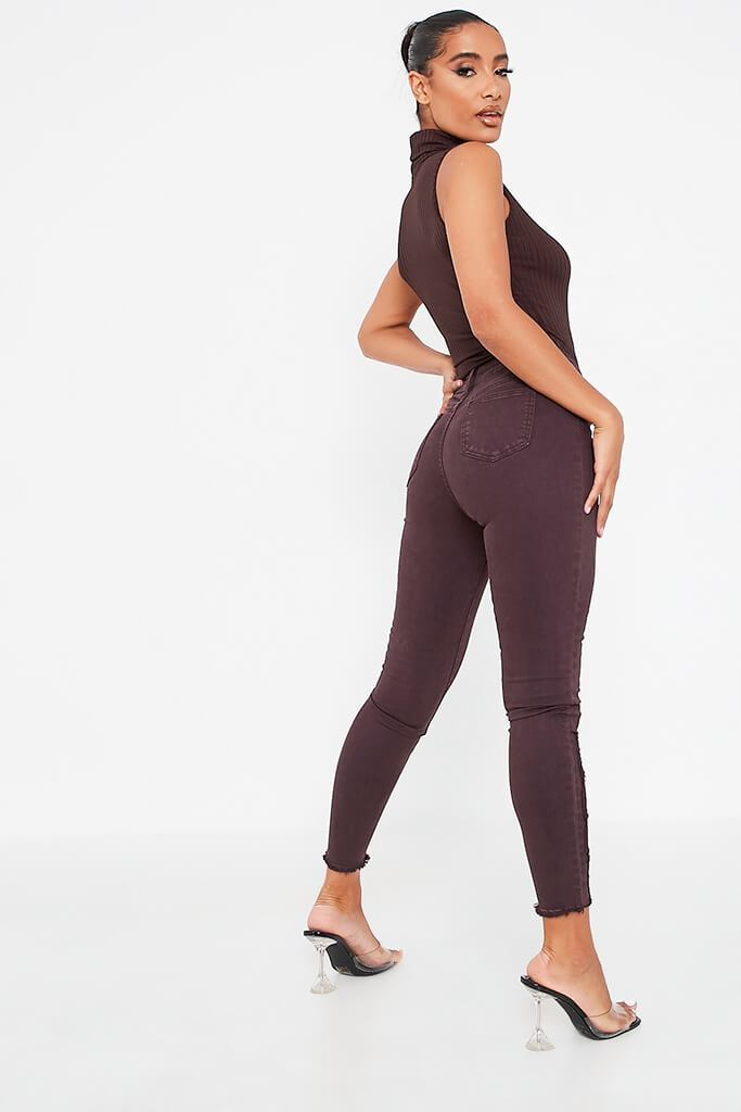 Aubergine Skinny Jeans view 3