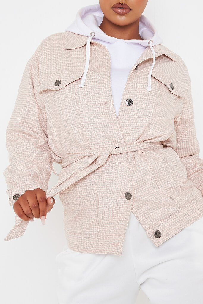 Pink Checked Belted Shacket view 5