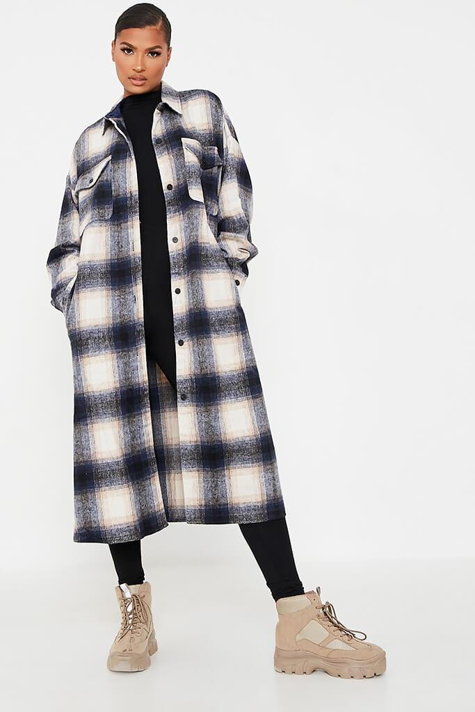 Blue Longline Checked Shacket
