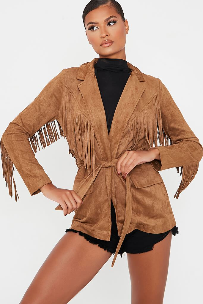 Tan Fringe Suede Jacket view 2