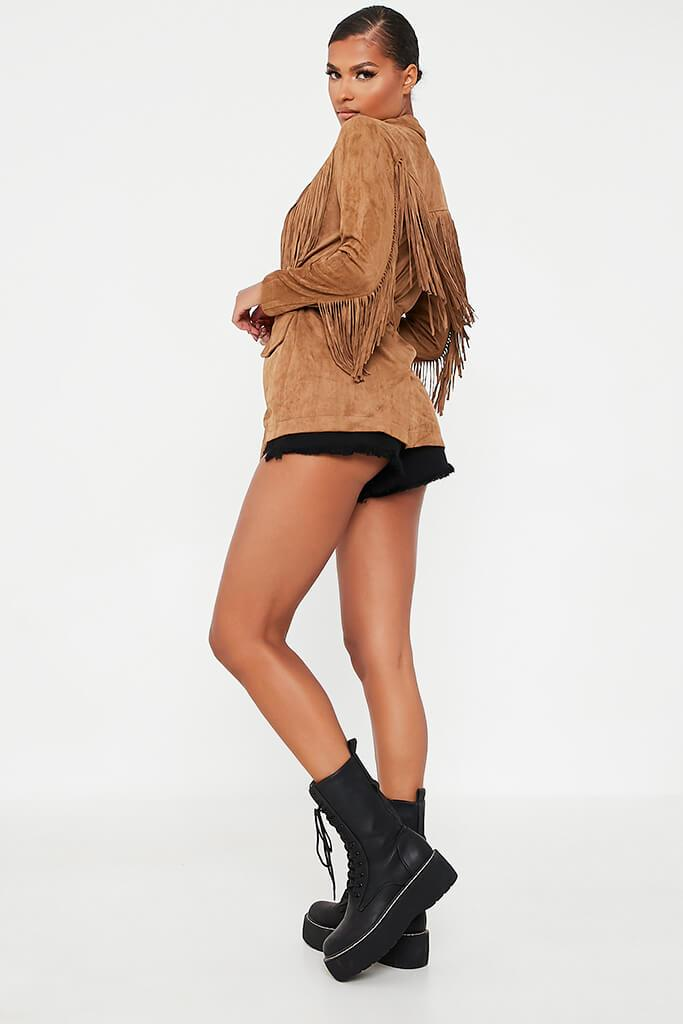 Tan Fringe Suede Jacket view 4