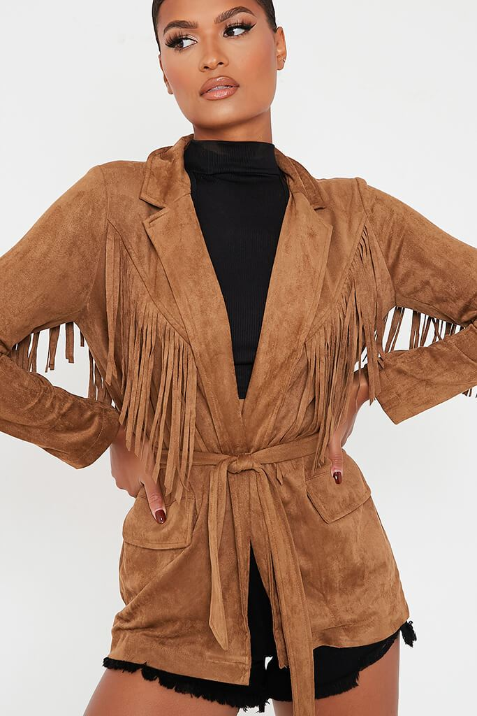 Tan Fringe Suede Jacket view 5