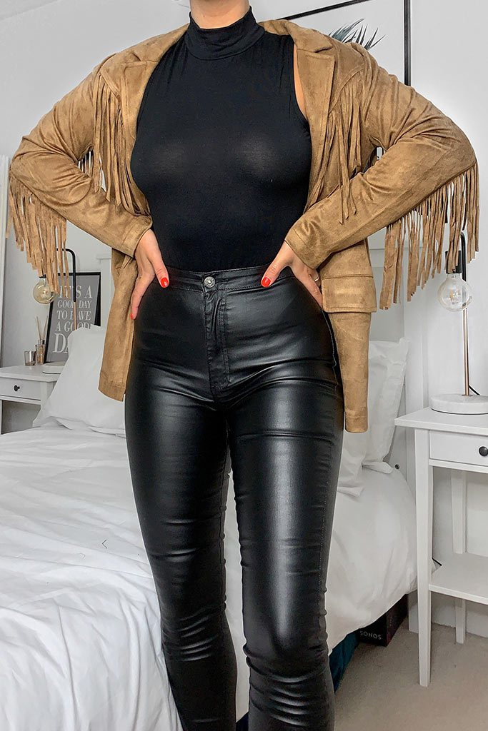 Tan Fringe Suede Jacket view main view