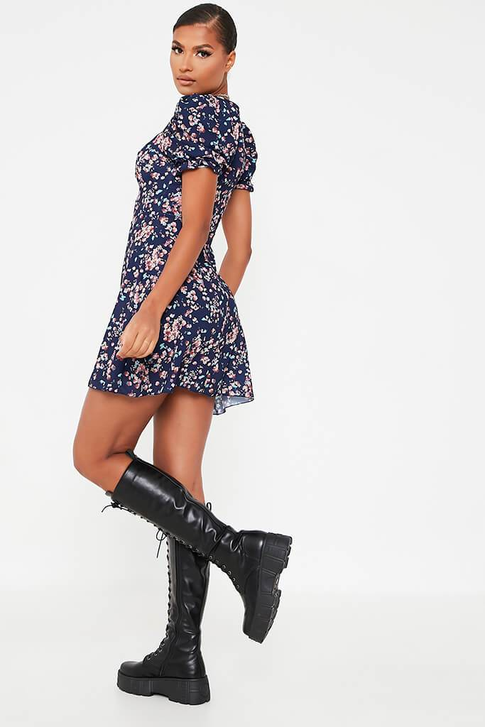 Navy Woven Floral Print Puff Sweetheart Tea Dress view 4