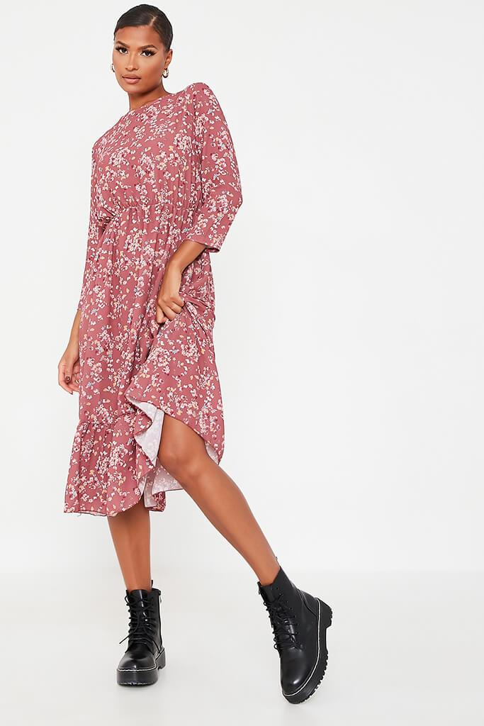 Dusky Pink Woven Floral Print Frill Hem Smock Midi Dress view main view