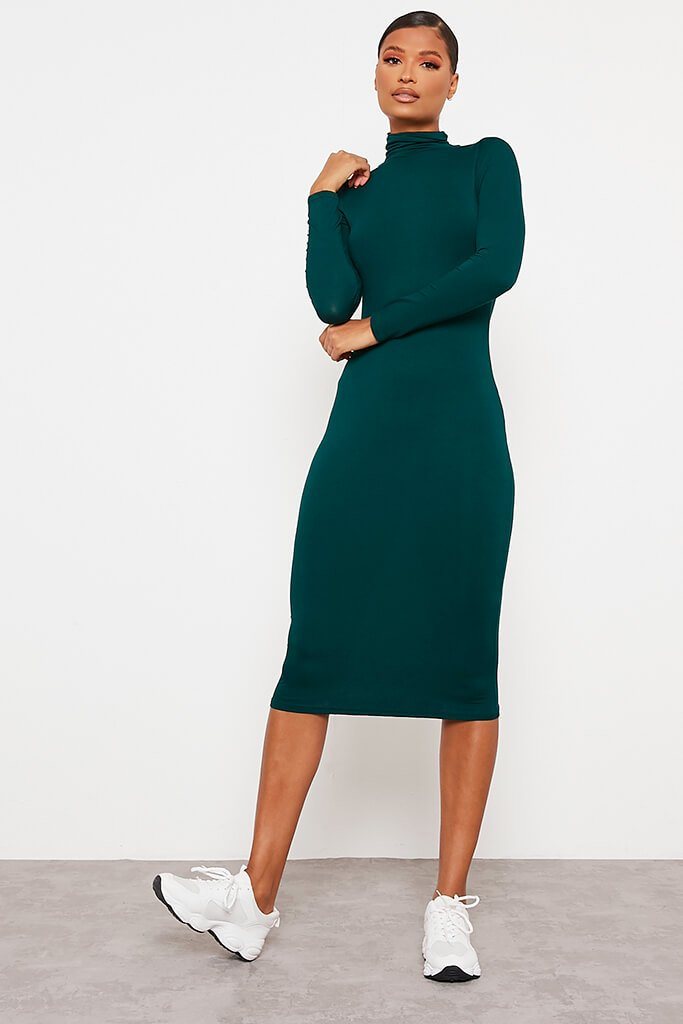 Emerald Green Jersey Long Sleeve Roll Neck Midi Dress view main view