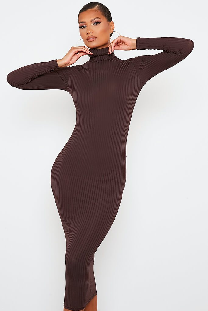 Chocolate Ribbed Roll Neck Long Sleeve Midi Dress view 2