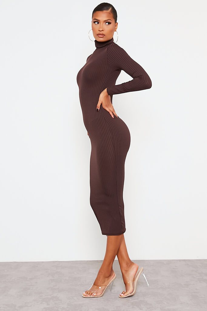 Chocolate Ribbed Roll Neck Long Sleeve Midi Dress view 3