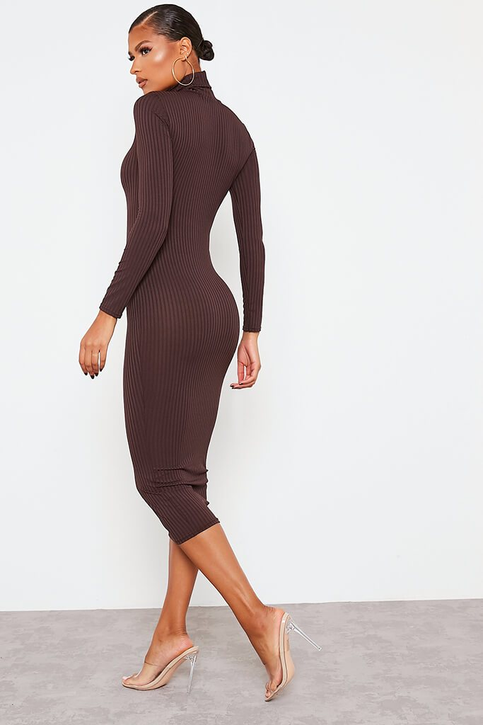Chocolate Ribbed Roll Neck Long Sleeve Midi Dress view 4
