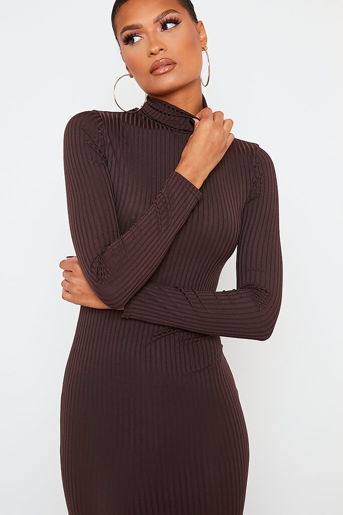 Chocolate Ribbed Roll Neck Long Sleeve Midi Dress view 5