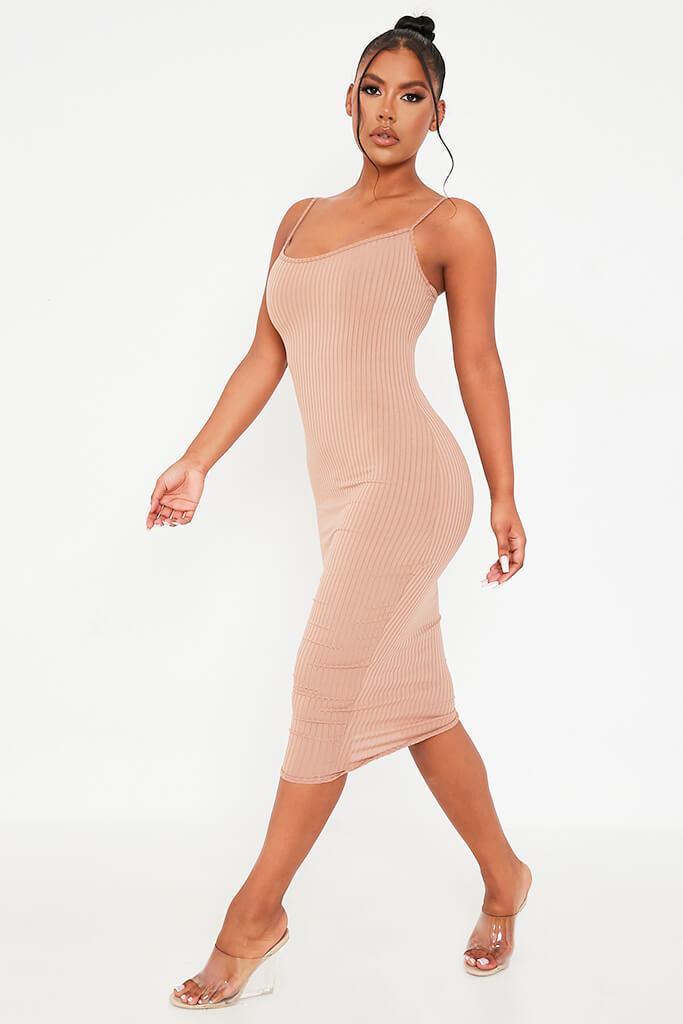 Brown Ribbed Cami Midi Dress view 3