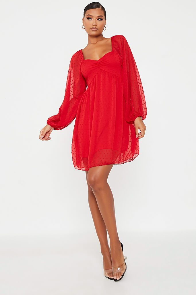 Red Dobby Mesh Long Puff Sleeve Skater Dress view 2