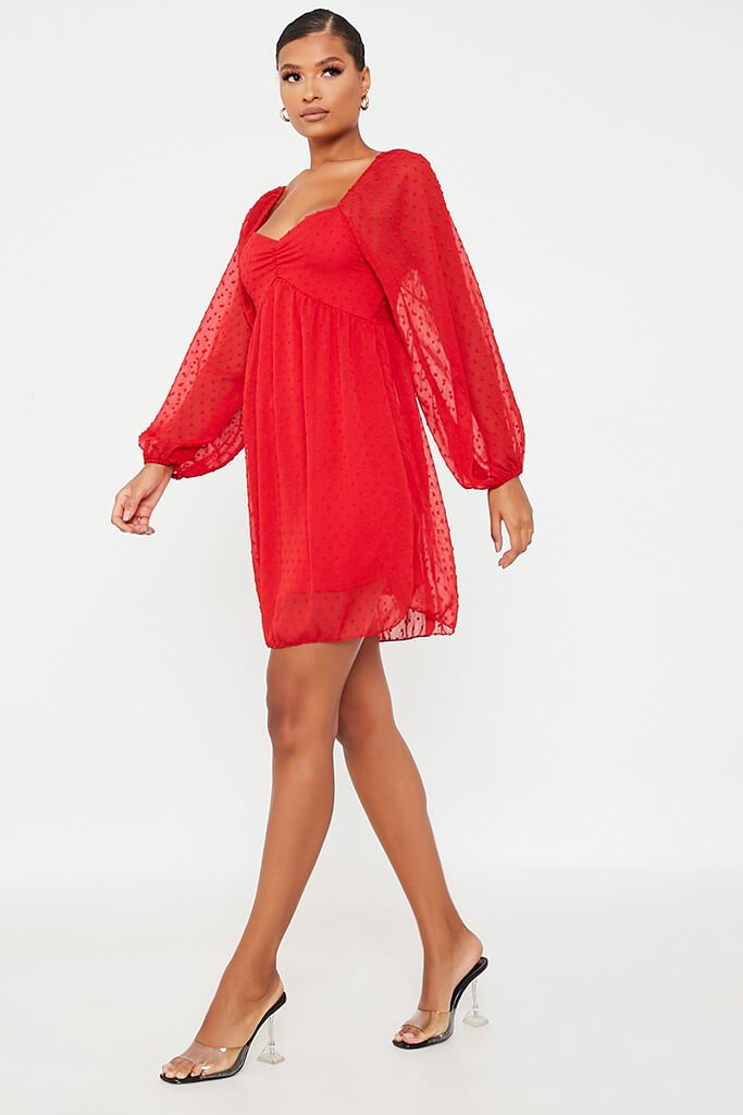 Red Dobby Mesh Long Puff Sleeve Skater Dress view 3