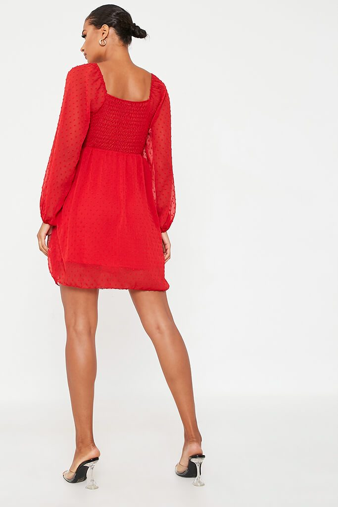 Red Dobby Mesh Long Puff Sleeve Skater Dress view 4