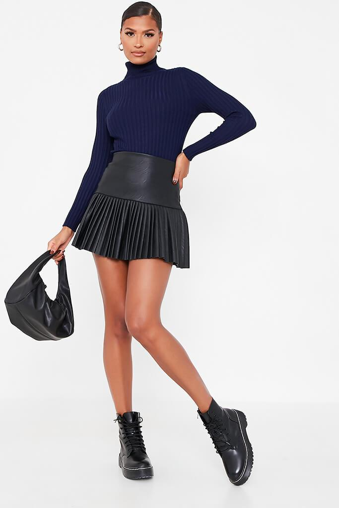 Navy Roll Neck Rib Knitted Jumper view 2