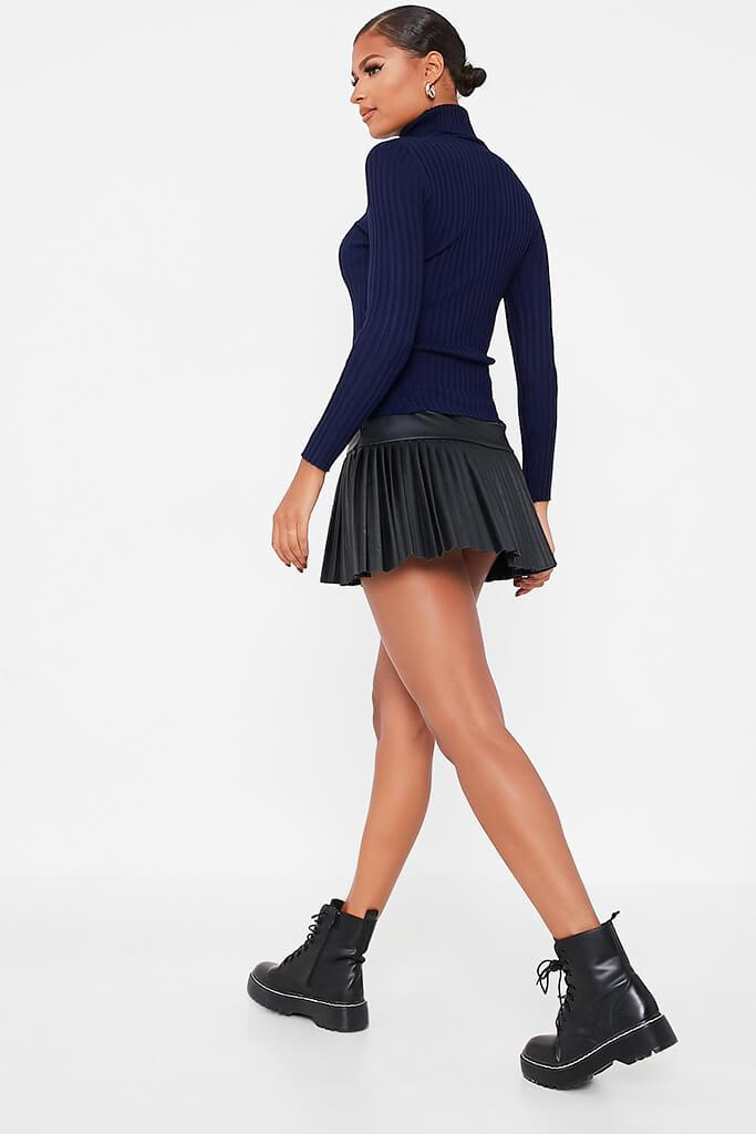 Navy Roll Neck Rib Knitted Jumper view 4