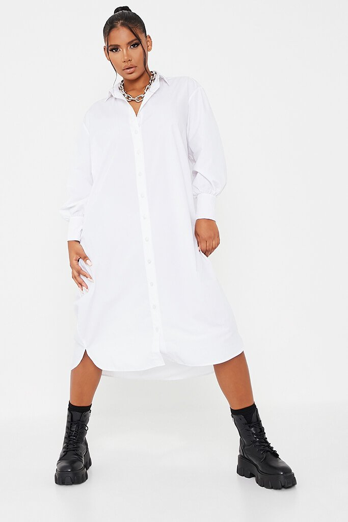 White Woven Oversized Dipped Hem Midi Shirt Dress view 2