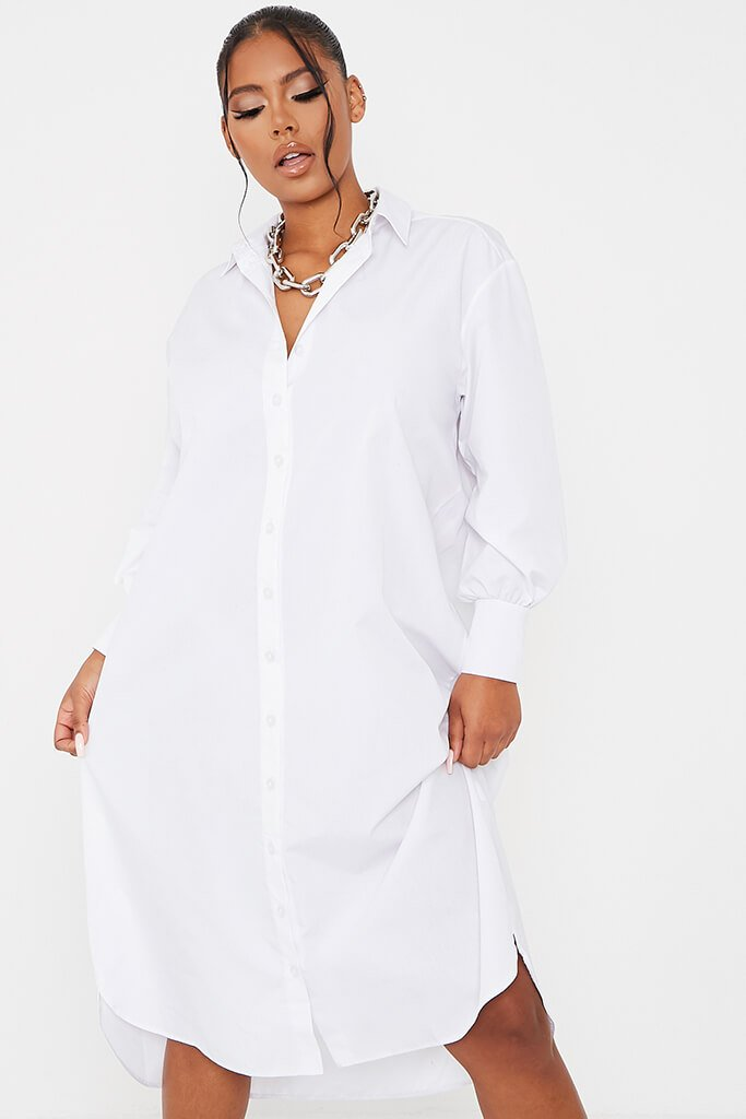 White Woven Oversized Dipped Hem Midi Shirt Dress