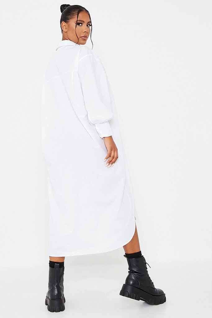 White Woven Oversized Dipped Hem Midi Shirt Dress view 4